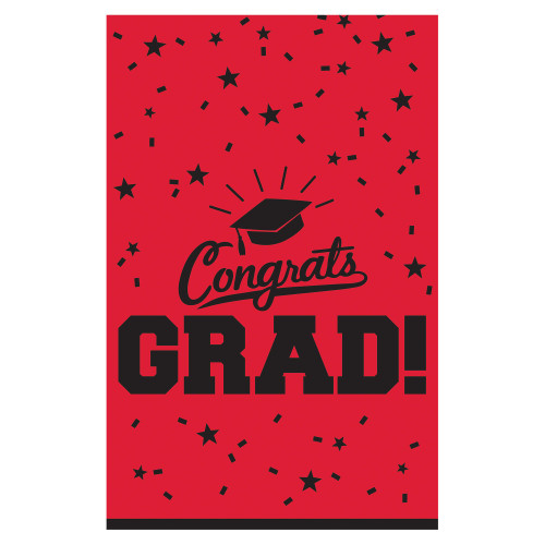Red Black 54 x 84 Congrats grad Border Print Tablecover Graduation School Spirit
