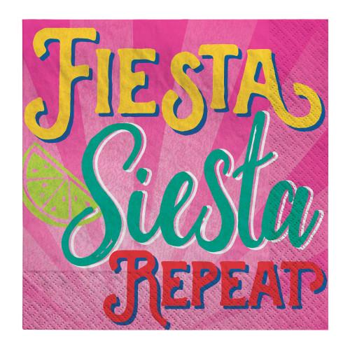 Fiesta Siesta Repeat Cinco de Mayo 16 Ct Beverage Napkins