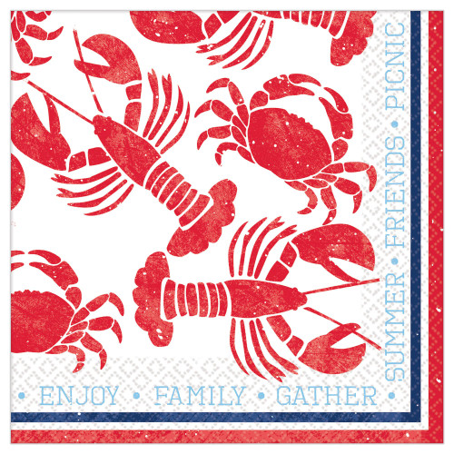 Seafood and Summer Lobster Crawfish Crab Lunch Napkins 16 Ct