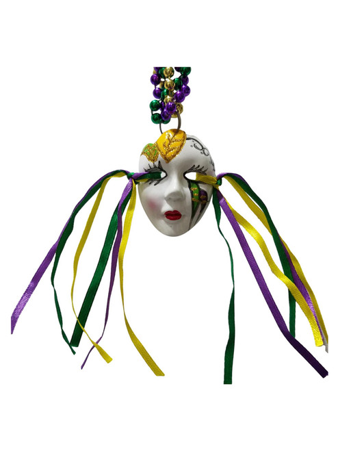 Ceramic Mask Face Ribbon Tri Strand Mardi Gras Beads Party Favor Necklace