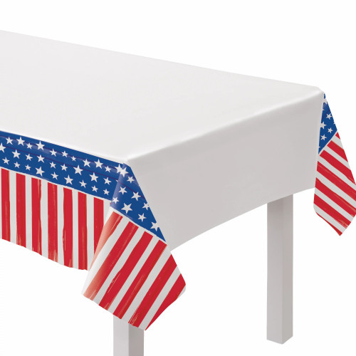 Painted Patriotic Red White Blue 4th July 54 x 96 Tablecover