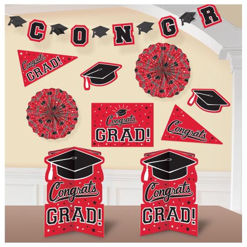 Red Black Congrats Grad 10 Pc Room Decorating Kit School Spirit Graduation