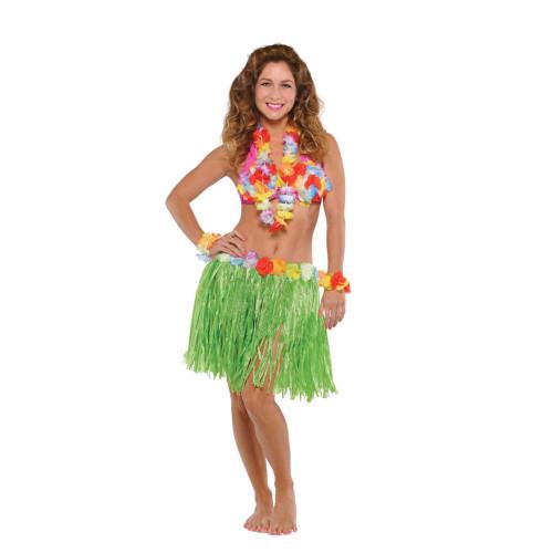 Hawaiian Luau Adult Flower Lei Bra Wristlet Grass Hula Skirt 5 Pc Set