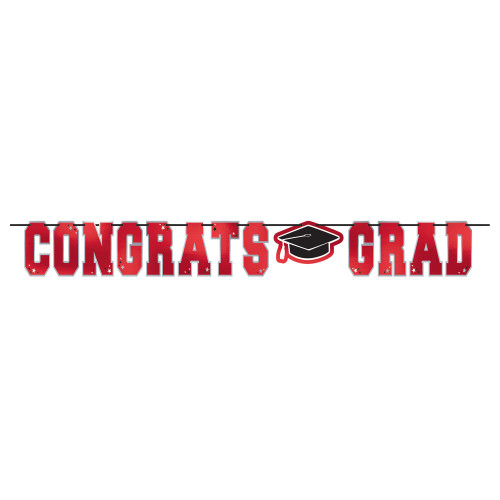 Congrats Grad Red Black 12 ft Letter Ribbon Banner Graduation