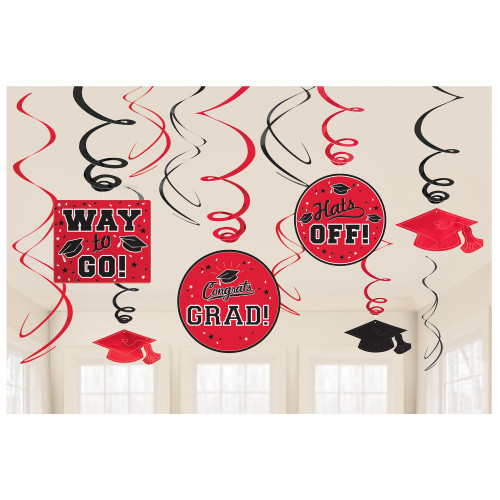 Graduation Red Black Foil Swirl 12 pc Value Pack Hanging Decorations