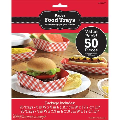 Hot Dog Hamburger Paper Tray 50 Ct Picnic BBQ Party Supplies