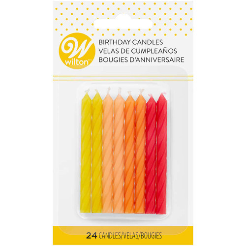 Warm Ombre Spiral 24 Ct Birthday Candles Yellow Peach Orange Red