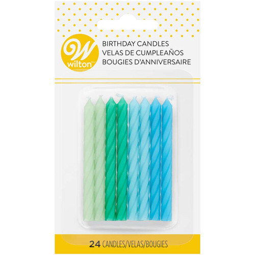 Cool Ombre Spiral 24 Ct Birthday Candles Blue Green