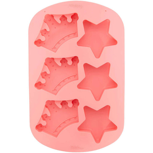 Star and Crown Pink Silicone Mold 6 Cavity Candy Treat Wilton Princess
