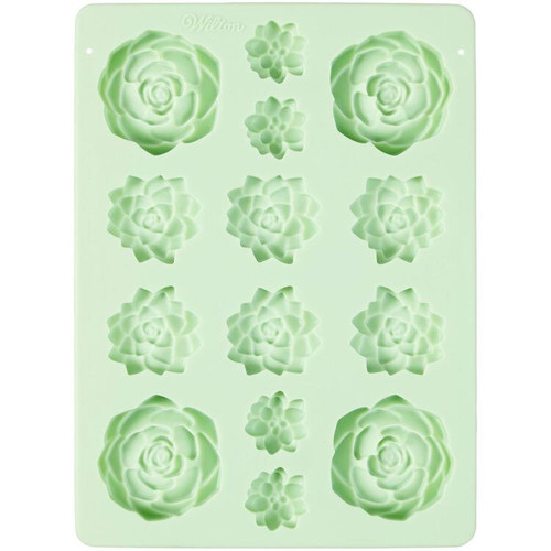 Succulents Flower Mint Green Silicone Mold 14 Cavity Candy Treat Wilton