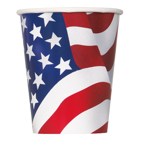 USA Flag July 4th Cups 8 ct Party Hot Cold Paper 9 oz Memorial day