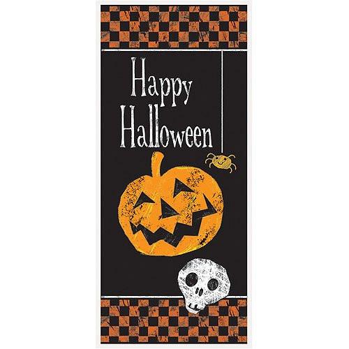 Checkered Halloween Pumpkin Plastic Door Poster Decoration 27 x 60 in