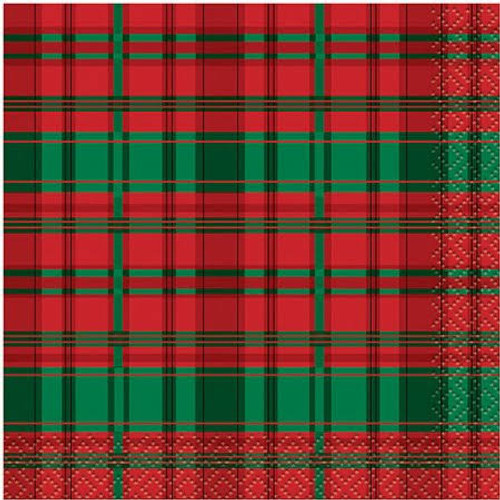 Poinsettia Red Green Plaid Christmas 16 Ct  Paper Beverage Napkins