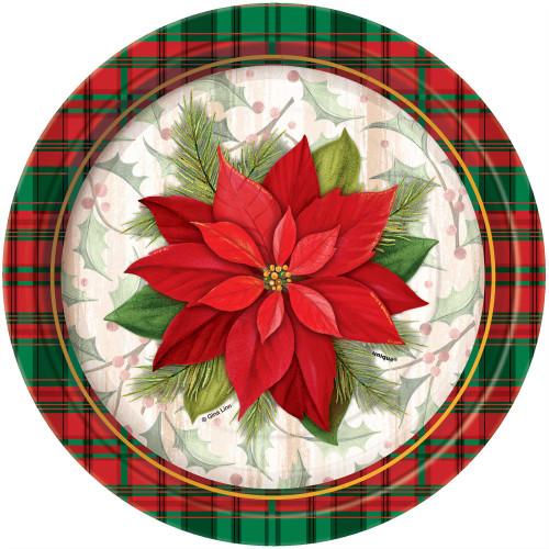 "Poinsettia Plaid Red Green Christmas 8 Ct  Paper 7"" Dessert Cake Plates"