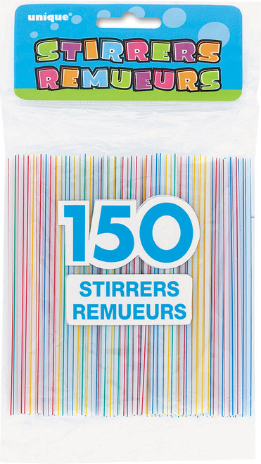 150 Cocktail Coffee Stirrers Hot Cold Drinks Plastic Straw Striped