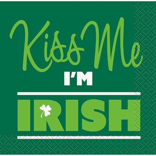 Kiss Me I'm Irish St Patricks Day 16 Ct Beverage Napkins