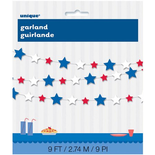 Patriotic Stars Red White Blue Paper Garland Banner 4th July