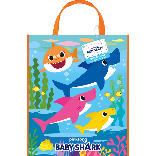 """Baby Shark Plastic Tote Bag  13"""" x 11"""" Birthday Party Supplies"""