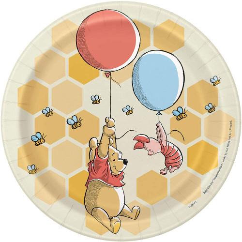 """Winnie The Pooh 8 Ct 7"""" Dessert Cake Plates Birthday Shower"""