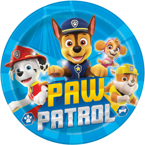 """Paw Patrol 8 Ct 9"""" Paper Lunch Plates Rubble Skye Chase Marshall"""