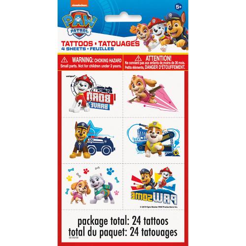 Paw Patrol 24 Temporary Favor Tattoos 4 Sheets
