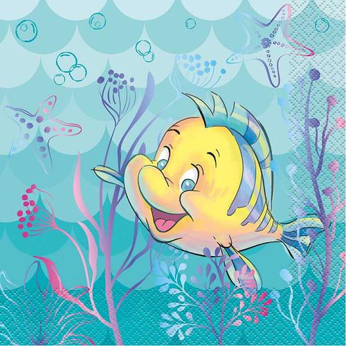 Ariel Little Mermaid 16 Ct Luncheon Napkins Flounder
