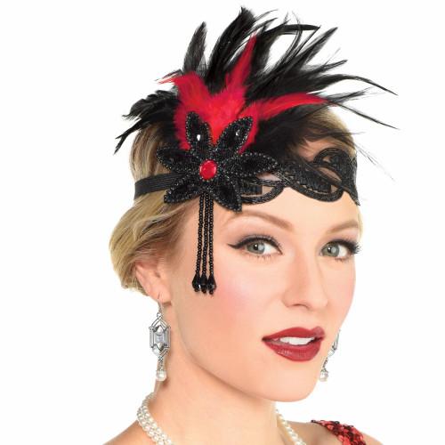 Gatsby Roaring 20's Flapper Headband, Red Black Feather Flower