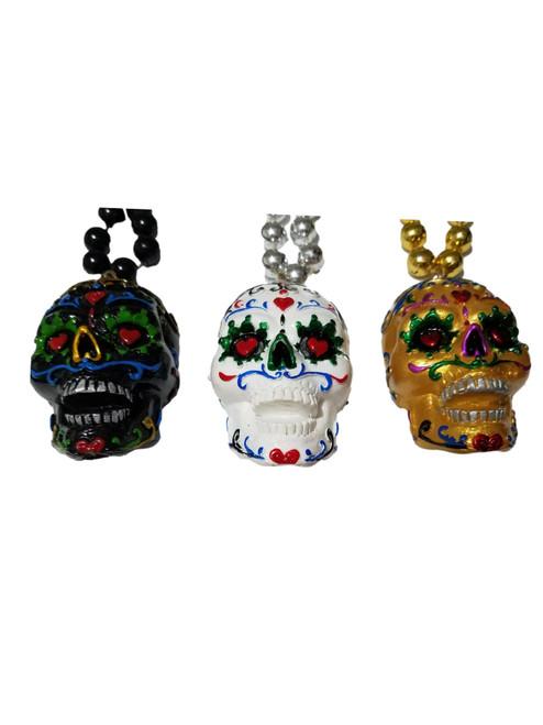 3 Sugar Skull Set Heart Love Mardi Gras Beads Party Favor Necklaces