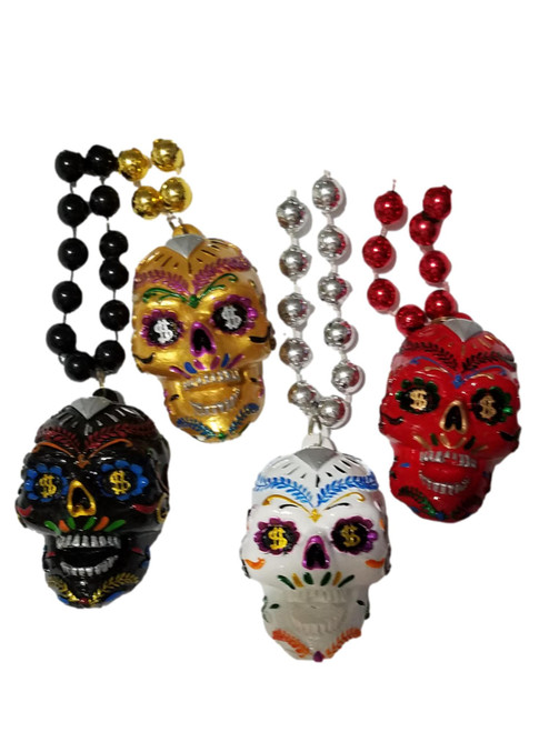 4 Sugar Skull Set Diamond Mardi Gras Beads Party Favor Necklaces