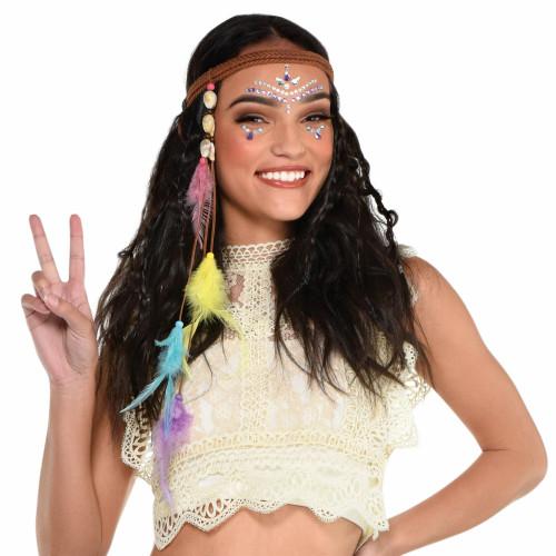 Groovy Hippie Headband 60's Feather Beads