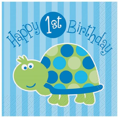 1st Birthday Blue Turtle Party 16 ct Beverage Napkins