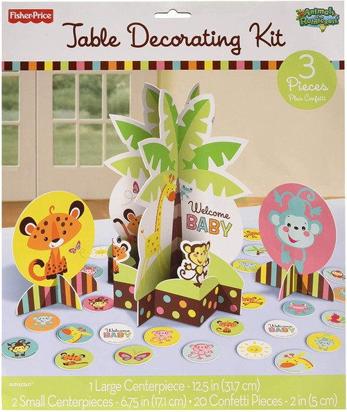 Fisher Price Animals Welcome Baby Table Decorating Kit 3 Pc