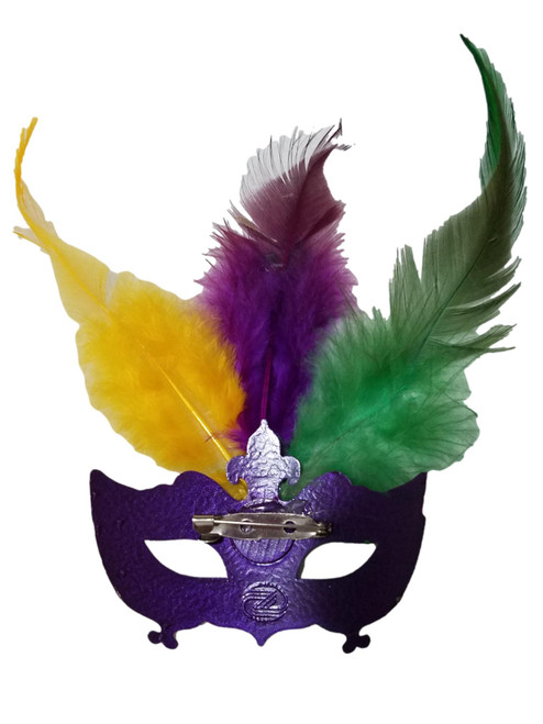 Pin Mardi Gras Feather Mask Purple Green Yellow Party Favor
