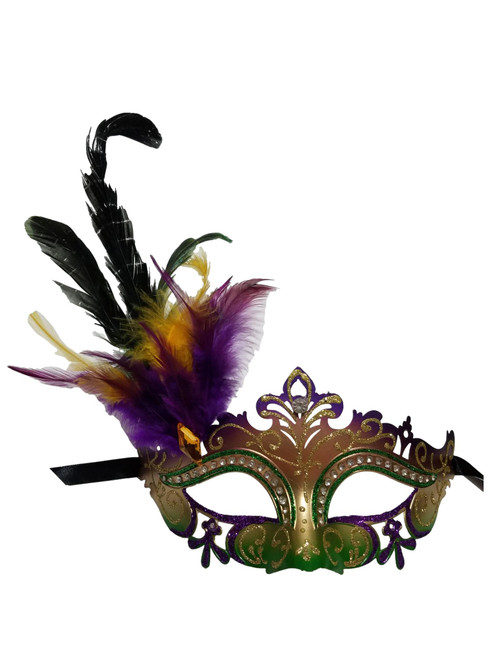 Purple Green Gold Mardi Gras Venetian Masquerade Mask Feathers