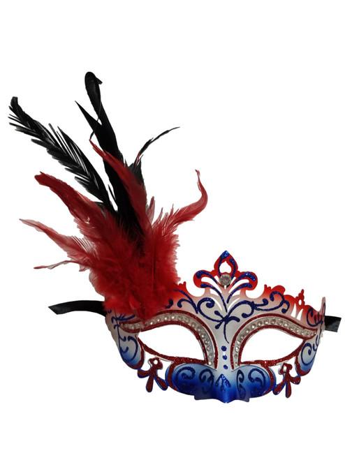 Red White Blue Mardi Gras Venetian Masquerade Mask Feathers