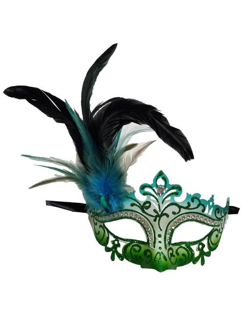 Green White Blue Mardi Gras Venetian Masquerade Mask Feathers