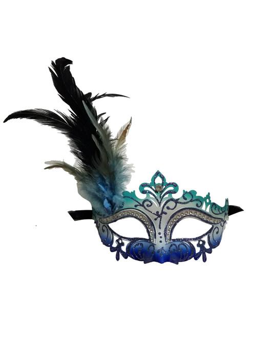 Aqua White Blue Mardi Gras Venetian Masquerade Mask Feathers