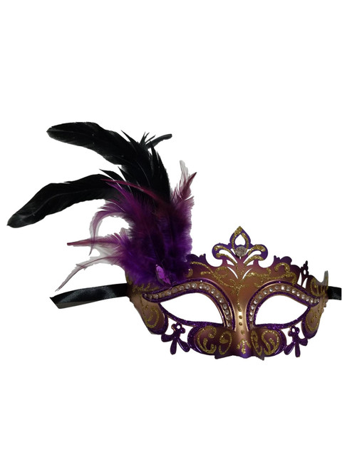 Purple Gold Mardi Gras Venetian Masquerade Mask Feathers