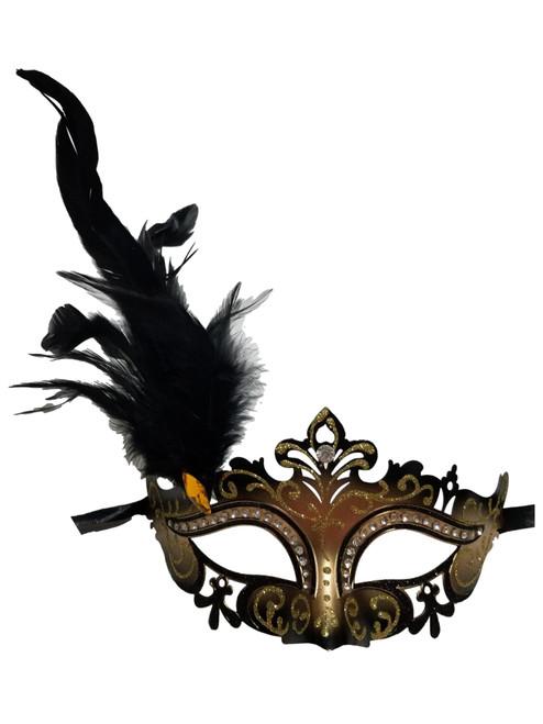 Black Gold Mardi Gras Venetian Masquerade Mask Feathers