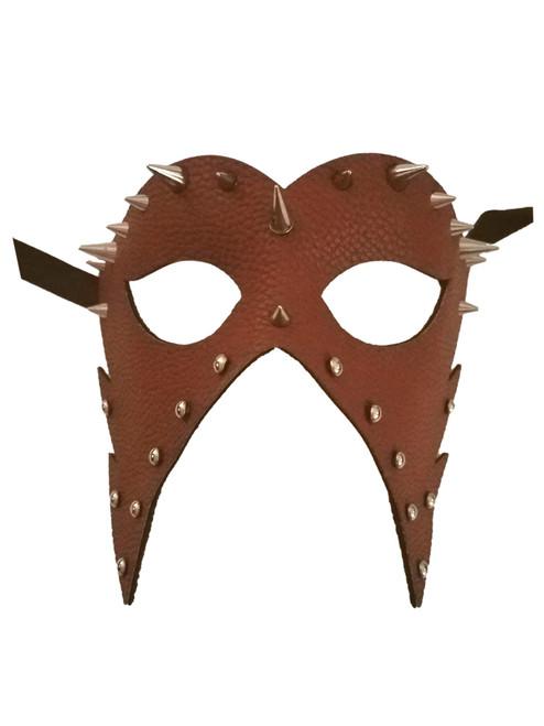 Brown Leather Metal Spikes Masquerade Halloween Mardi Gras Mask
