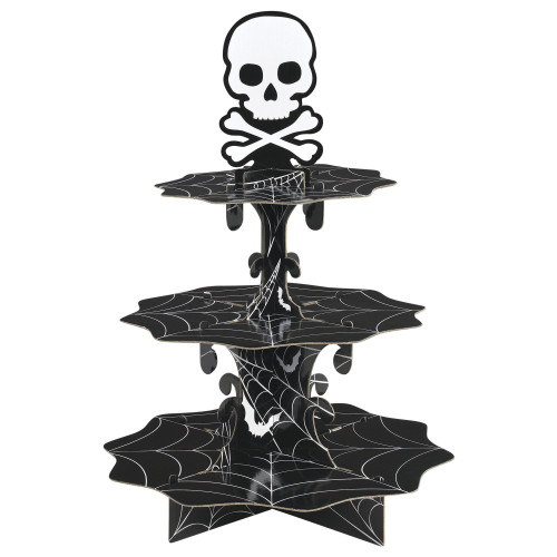 Skull and Spiderwebs Treat Stand 24 Cupcake Holder Party Centerpiece
