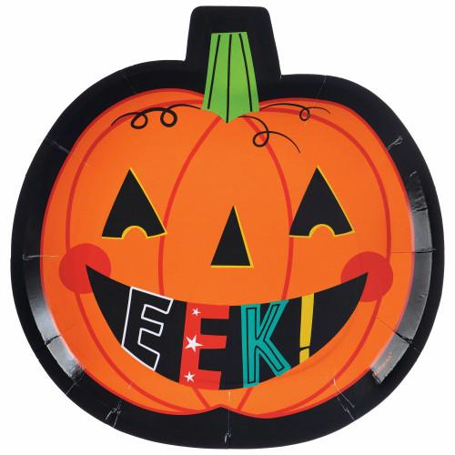 "Jack O'Lantern Pumpkin Shaped Plates Dessert Cake 7""  Halloween EEK!"