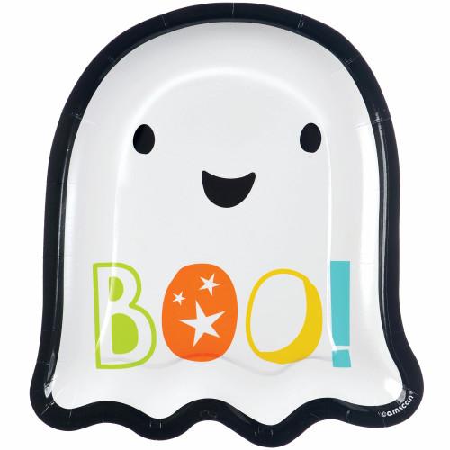 "Ghost Shaped Plates Dessert Cake 7""  Halloween BOO!"