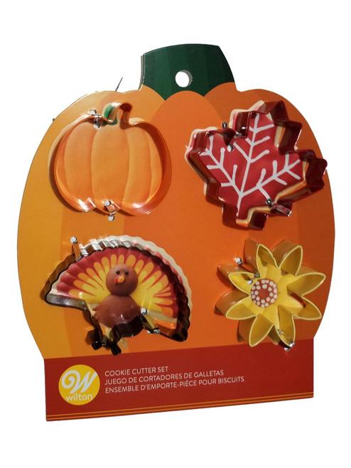 Wilton Colorful Metal Autumn 4 Cookie Cutters Fall Turkey Leaf Sunflower Pumpkin