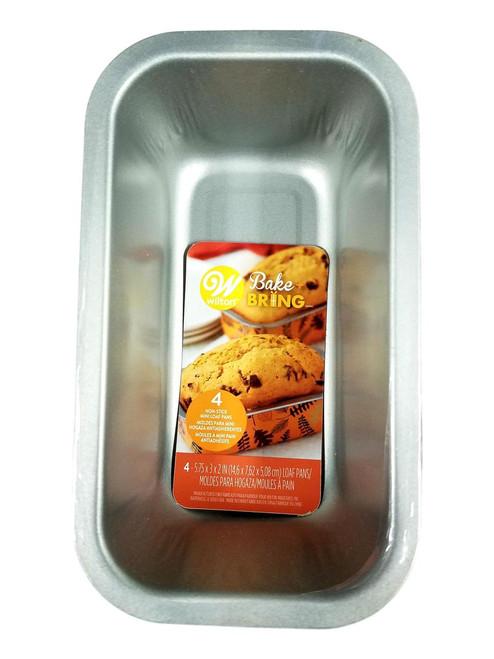 Wilton 4 Pc Autumn Mini Loaf Pan Set  Non Stick Tin Steel Leaf and Fern