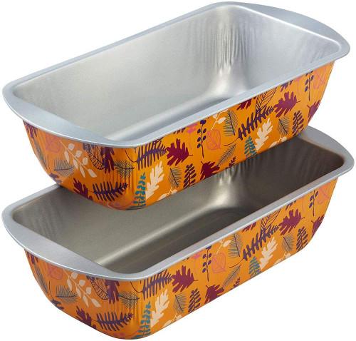 Wilton 2 Pc Autumn Fall 8 x 4 Loaf Pan Set  Non Stick Tin Steel Leaf Fern