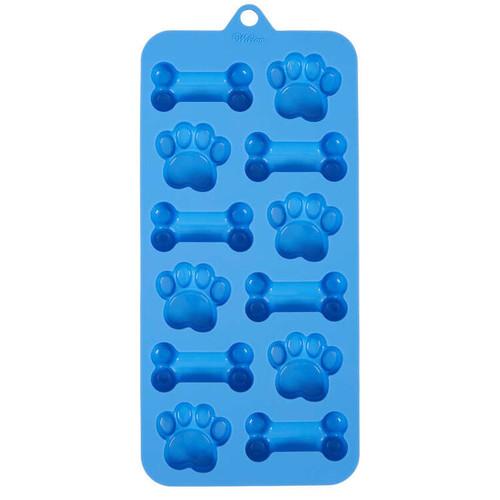 Dog Paw Bone Silicone Candy Mold Wilton 12 Cavities Blue