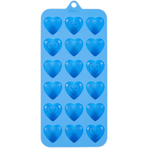 Fancy Heart Silicone Candy Mold Wilton 18 Cavities Blue