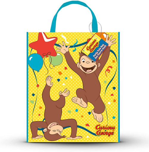"""Curious George Plastic Tote Bag  13"""" x 11"""" Birthday Party Supplies"""