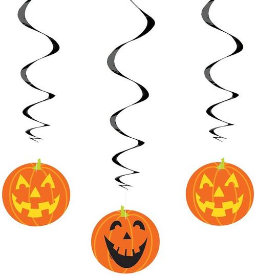 "Halloween Jack O'Lantern Pumpkin 26"" Hanging Swirl Cutouts 3 Pc"